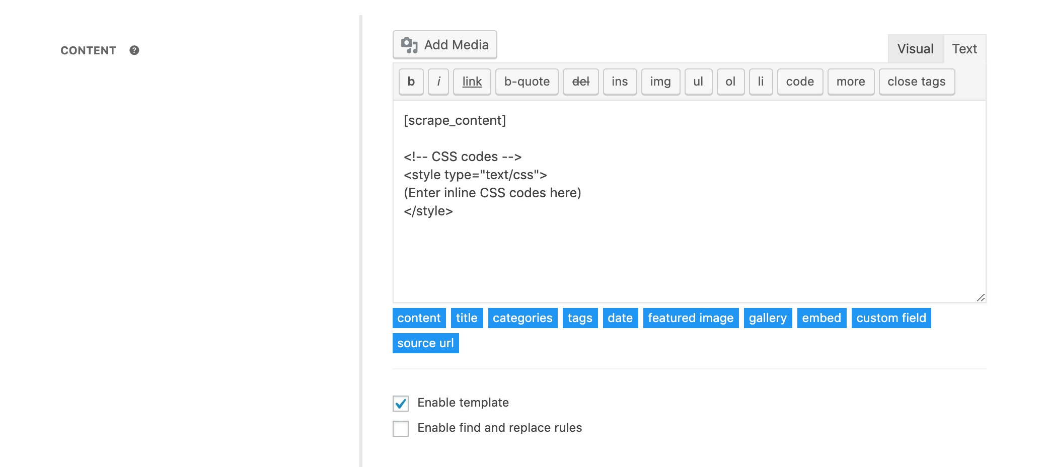 Defining inline styles to content